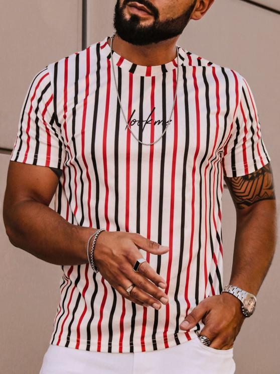 T-shirt Lettre Rayé Imprimé à Manches Courtes - Blanc L