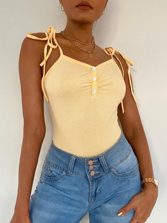 ZAFUL Striped Button Placket Cami Bodysuit - Yellow S
