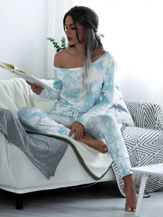 online Skew Collar Tie Dye Lounge Jumpsuit - LIGHT BLUE S