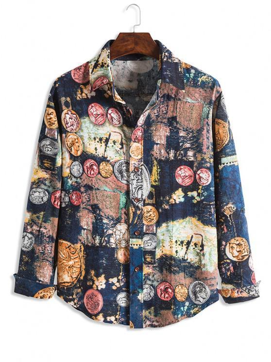 ladies Tie Dye Portrait Print Lounge Long Sleeve Shirt - MULTI XS