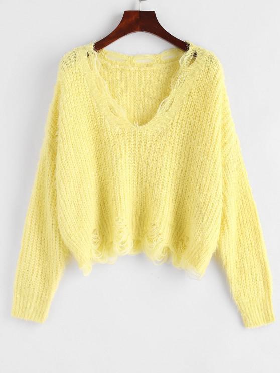 Fuzzy Distressed V Neck Cropped Sweater - الأصفر حجم واحد