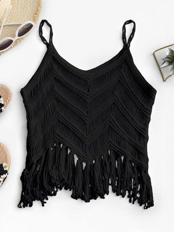 Fringed Crochet Beach Top - أسود حجم واحد
