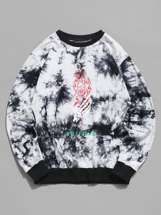 fancy ZAFUL Skeleton Hand Rose Print Tie Dye Sweatshirt - WHITE XL
