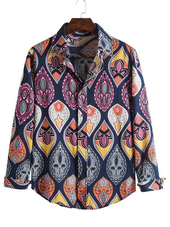 Lágrima Imprimir botón casual hasta la camisa - Multicolor L