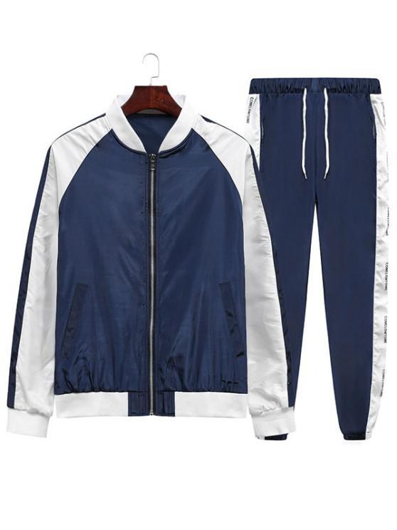 Colorblock Panel Jacket And Pants Two Piece Set - الدينيم الأزرق الداكن 3XL