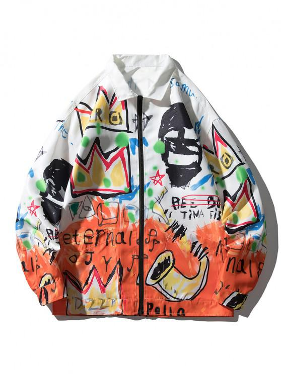 Graphic Graffiti Print Drop Shoulder Jacket - متعدد L