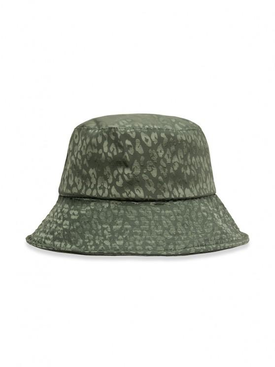 sale Leopard Print Casual Bucket Hat - MEDIUM SEA GREEN