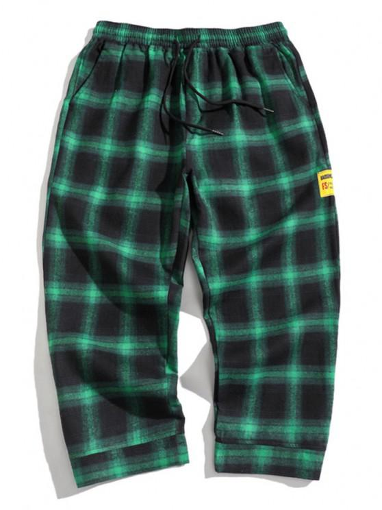 Plaid Print Letter Applique Casual Pants - أخضر L
