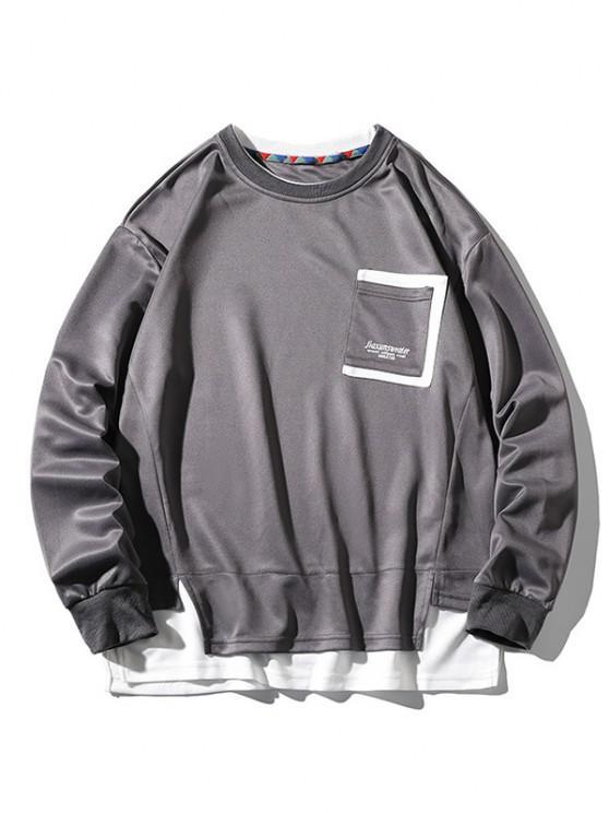 womens Letter Print Pocket Faux Twinset Sweatshirt - GRAY 3XL
