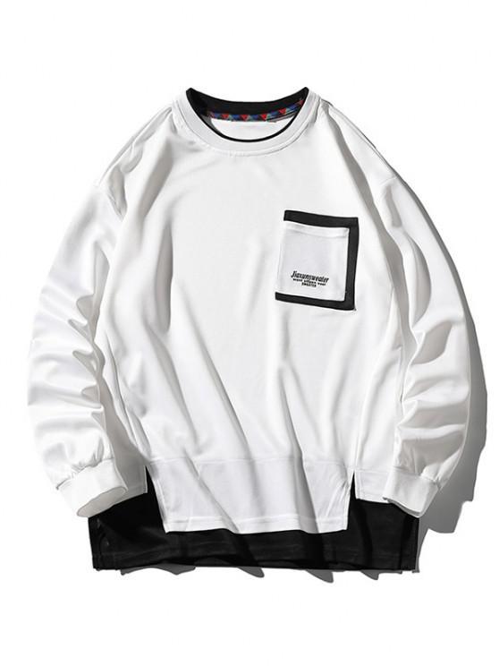 Letter Print Pocket Faux Twinset Sweatshirt - أبيض 4XL
