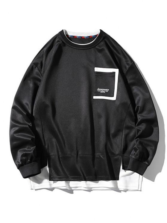Letter Print Pocket Faux Twinset Sweatshirt - أسود 2XL