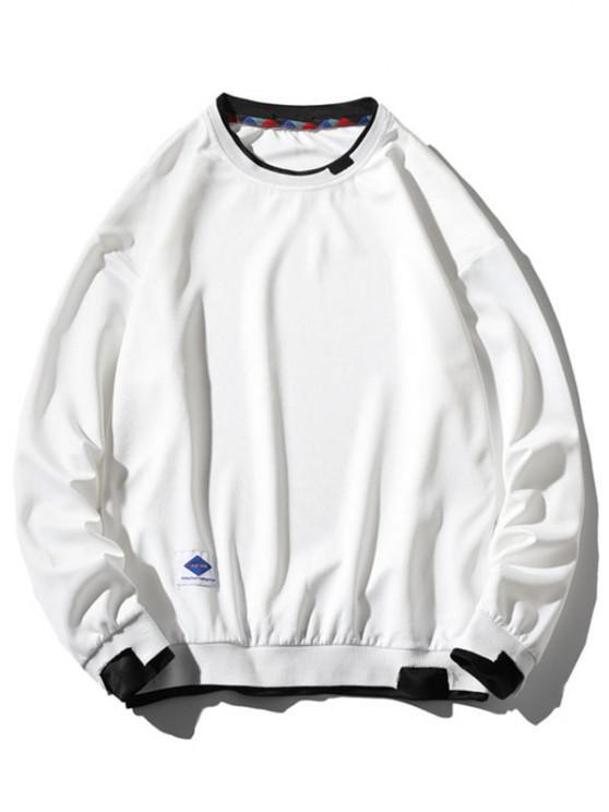 chic Graphic Applique Contrast Faux Twinset Sweatshirt - WHITE M