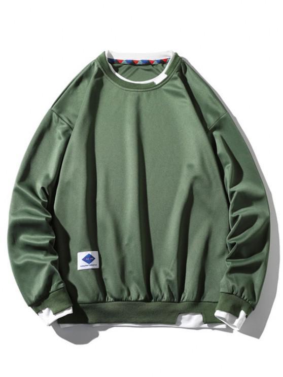 Graphic Applique Contrast Faux Twinset Sweatshirt - أخضر S