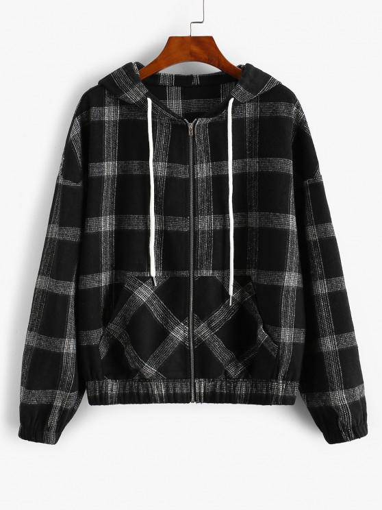 affordable ZAFUL Hooded Plaid Zip Up Wool Blend Jacket - BLACK M