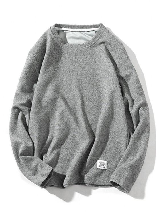 Reine Farbe Kapuze Strickwaren - Grau S