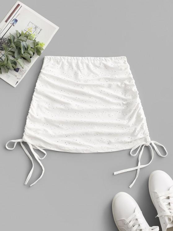 Cinched Eyelet Cover-up Skirt - أبيض حجم واحد