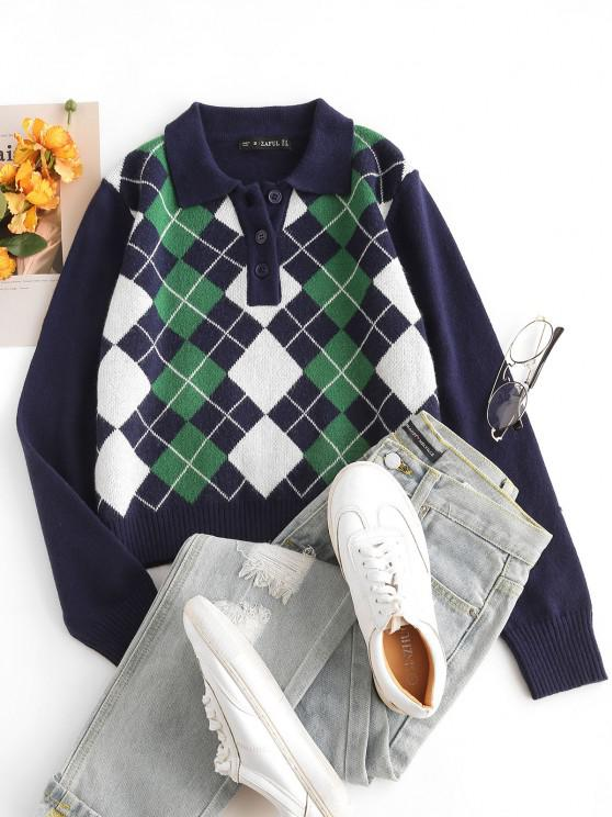 latest Pullover Button Front Plaid Sweater - DEEP BLUE S