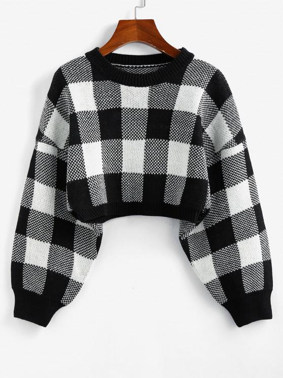 hot ZAFUL Plaid Drop Shoulder Crop Sweater - BLACK S