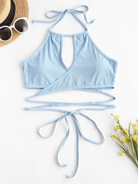 ZAFUL Plus Size Ribbed Halter Wrap Bikini Top - أزرق فاتح XXL
