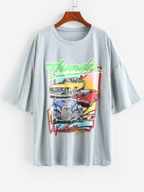 chic Oversized Thunder Graphic Car Print T-shirt - GRAY GOOSE S