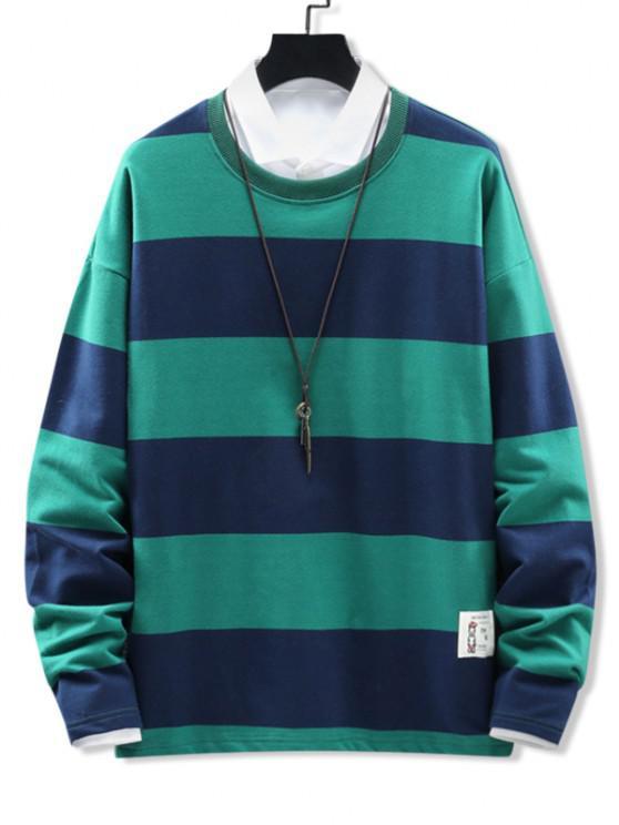 Crew Neck Stripes Patched Sweatshirt - أخضر XL