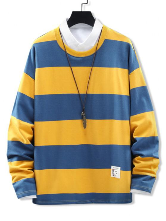 new Crew Neck Stripes Patched Sweatshirt - YELLOW 4XL