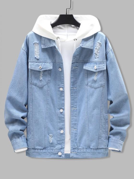 ladies Distressed Ripped Flap Pocket Jean Jacket - LIGHT BLUE 2XL