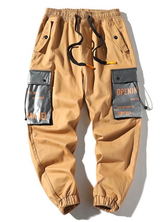 Letter Print Colorblock Pocket Cargo Pants - كاكي XS