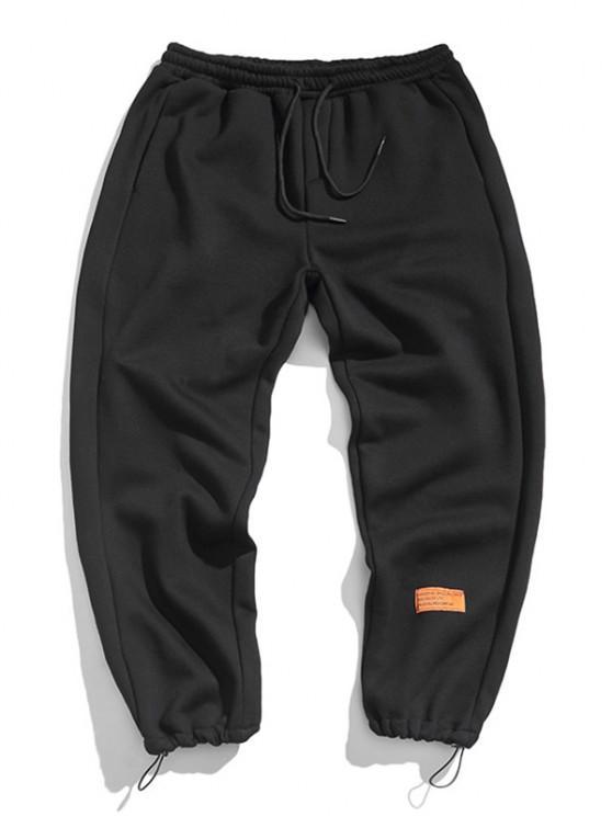 Letter Applique Toggle Drawstring Sports Pants - أسود XS