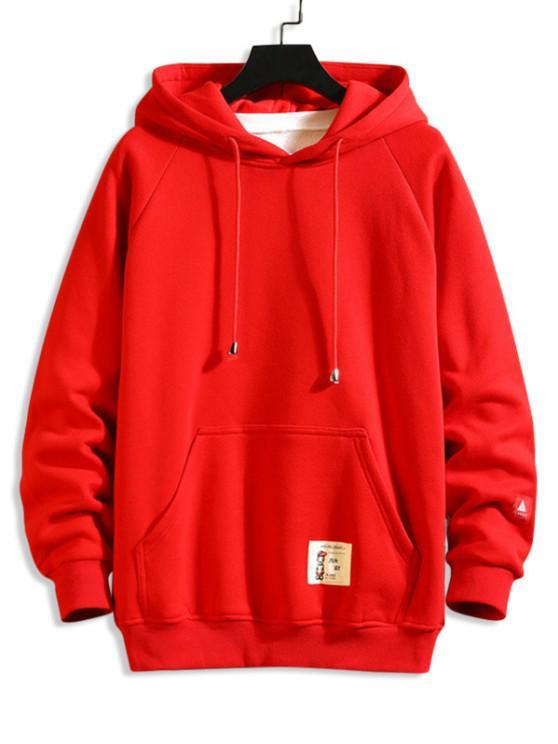 Patched Front Pocket Raglan Sleeve Hoodie - أحمر XS
