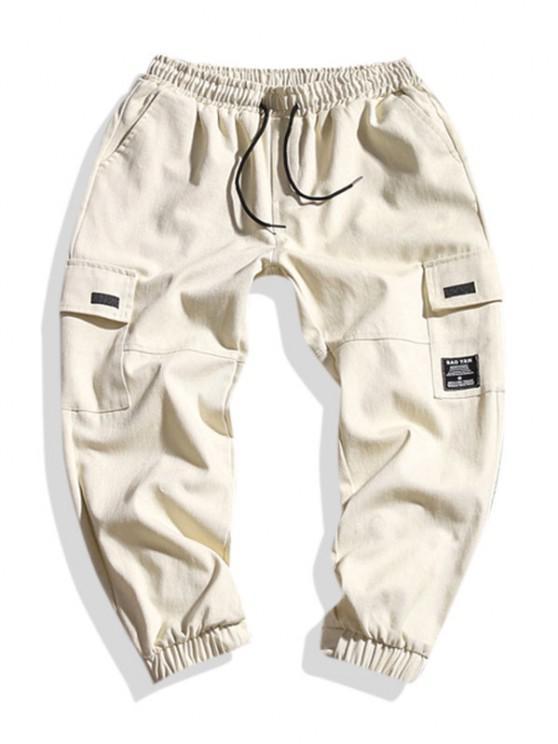 shops Letter Applique Geometric Embroidered Cargo Pants - BEIGE 2XL