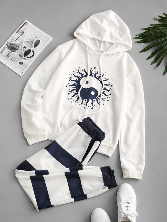 Drawstring The Eight Diagrams Stripes Sweat Two Piece Set - أبيض S