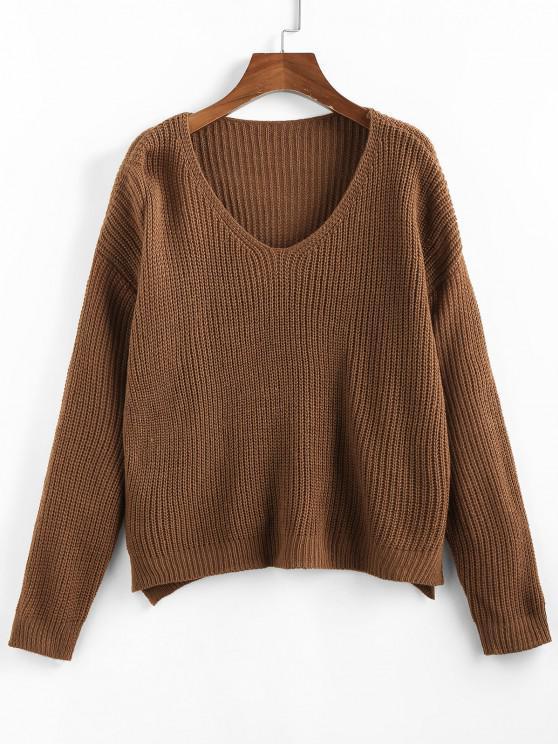 unique ZAFUL V Neck Drop Shoulder Slit Sweater - COFFEE M