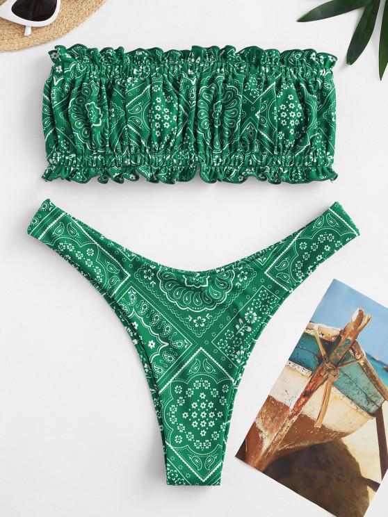 shop ZAFUL Vintage Printed Back Tie Bandeau Bikini Swimwear - DEEP GREEN S