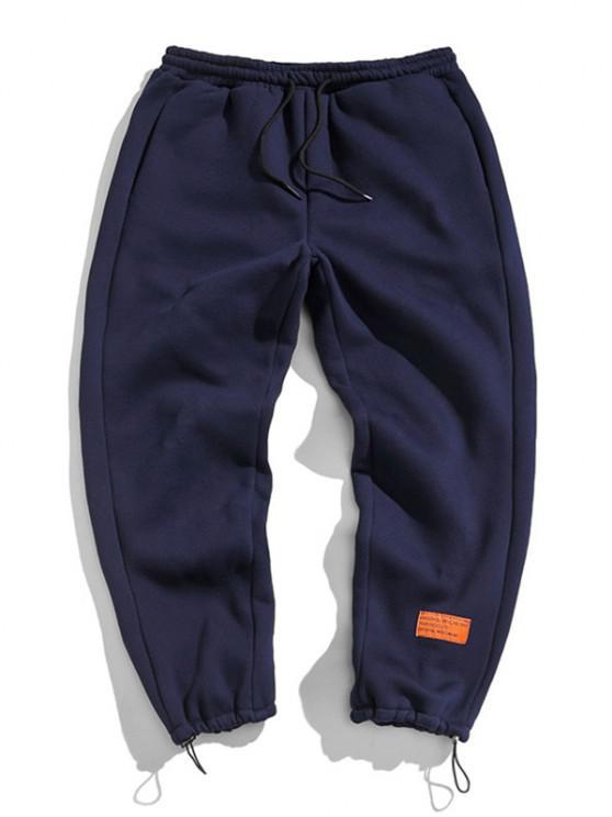 Pantalones de Deportes de Apliques de Letras con Cordón - Cadetblue S