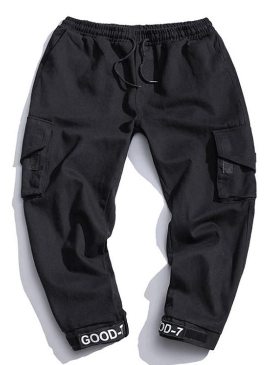 best Multi Pocket Design Drawstring Cargo Pants - BLACK XS