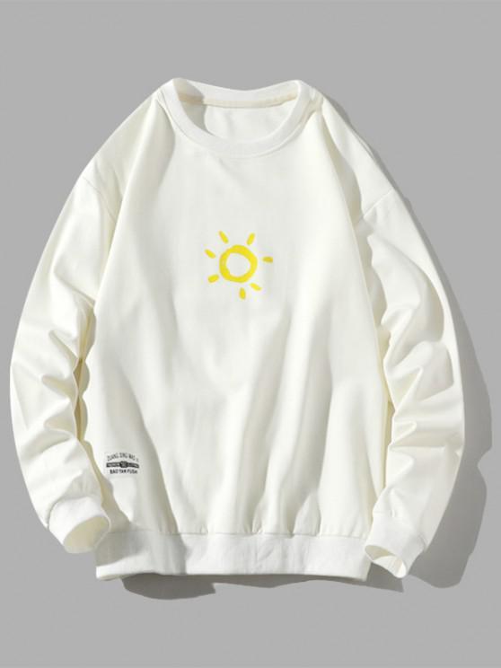 Sweat-shirt Pull-over Soleil Dessin Animé Imprimé - Blanc S