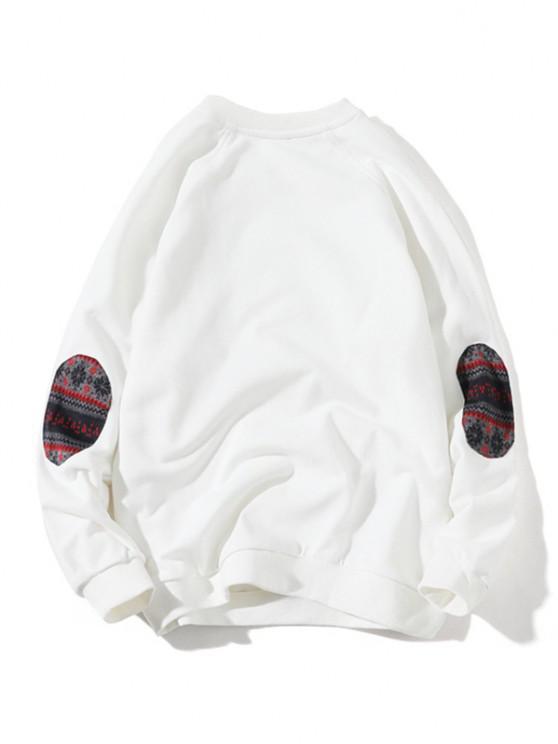 buy Raglan Sleeve Elbow Patchwork Sweatshirt - WHITE XS