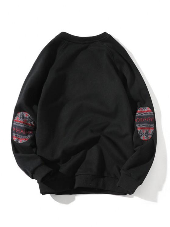 Raglan Sleeve Elbow Patchwork Sweatshirt - أسود M