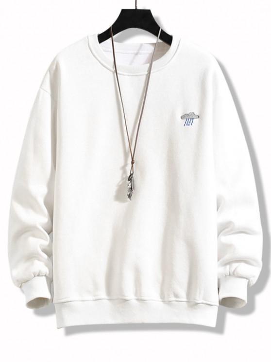 Crew Neck Rainy Embroidered Fleece Lined Sweatshirt - أبيض XL