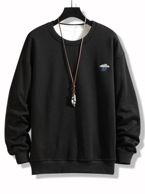Crew Neck Rainy Embroidered Fleece Lined Sweatshirt - أسود 3XL