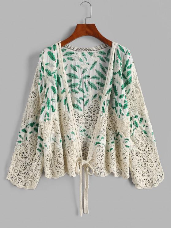 women's Leaves Print Crochet Panel Cover Up Cardigan - WHITE ONE SIZE