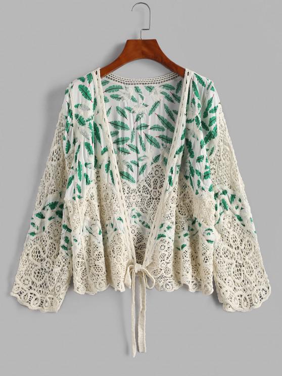 Leaves Print Crochet Panel Cover Up Cardigan - أبيض حجم واحد