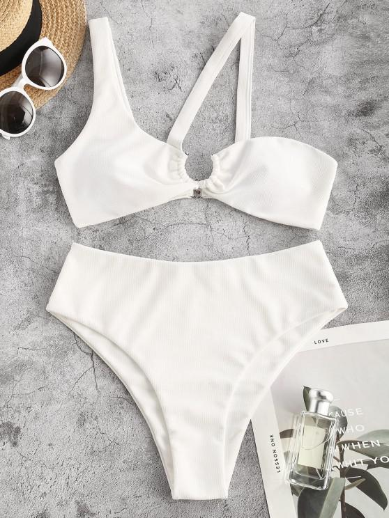 sale ZAFUL Textured U-bar One Shoulder Cutout Bikini Swimwear - WHITE M