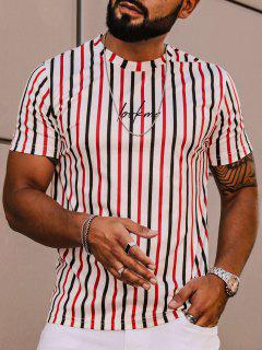 Striped Letter Printed Short Sleeves T-shirt - White L