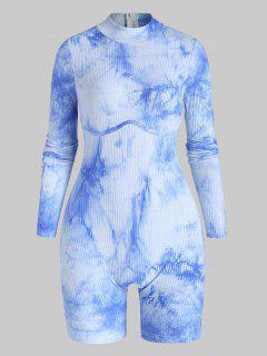 Macacão De Gola Fendilhado Com Nervuras - Azul L