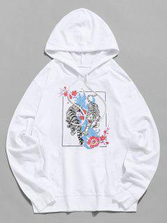 Blumen Tiger Graphik Tunnelzug Beutel Tasche Hoodie - Weiß Xl