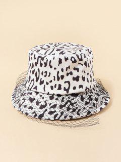 Mesh Embellished Cow Pattern Bucket Hat - White