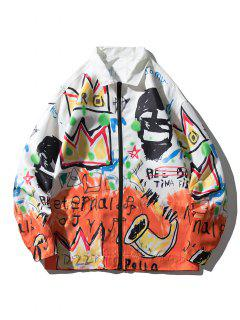 Graphic Graffiti Print Drop Shoulder Jacket - Multi L