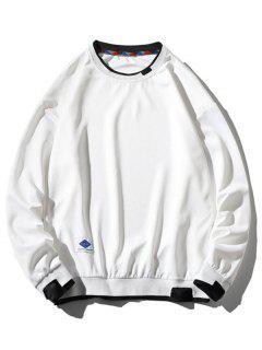 Graphic Applique Contrast Faux Twinset Sweatshirt - White S